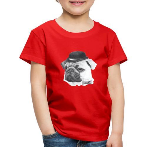 pug with bowler - Børne premium T-shirt