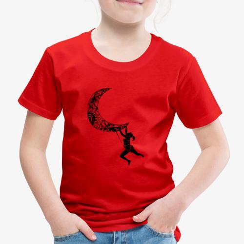 Climbing Woman Girl moon - Climber on the moon - Kids' Premium T-Shirt