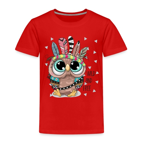 Eule - Wild and Free - Kinder Premium T-Shirt