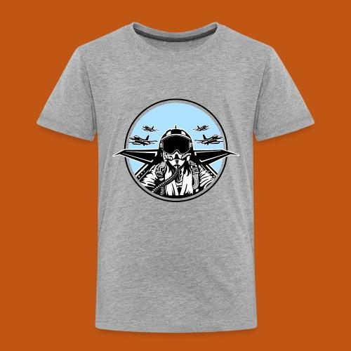 Jet Pilot / Kampfpilot 01_weiß Schwarz - Kinder Premium T-Shirt