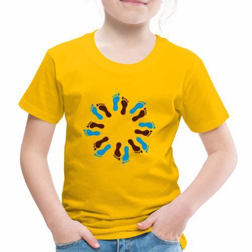Barfuß-Kreis blau-braun - Kinder Premium T-Shirt