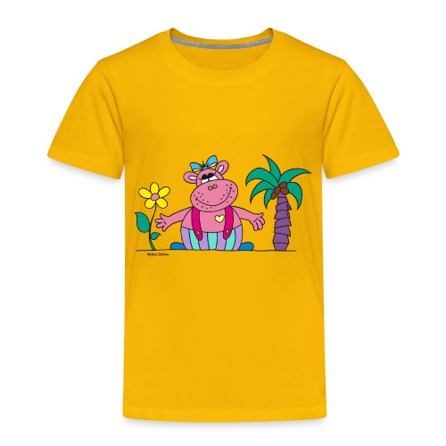 lustiges Nilpferd Sonnenblume Palme Hippo - Kids' Premium T-Shirt