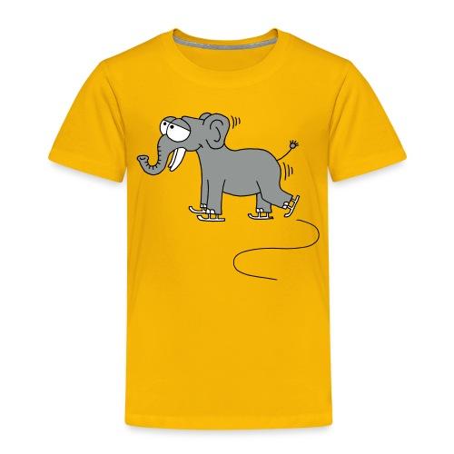 lustiger Elefant beim Schlittschuhfahren, Winter - Kinder Premium T-Shirt