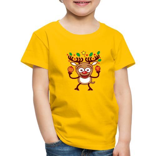 Cool Reindeer Decorating for Christmas - Kids' Premium T-Shirt