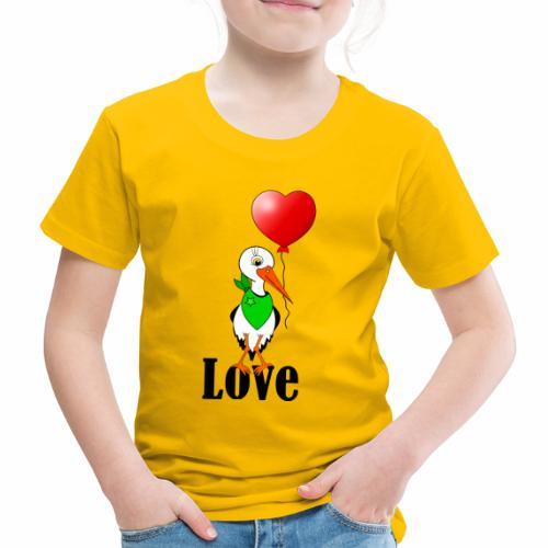 Storch mit Herzluftballon - Kinder Premium T-Shirt