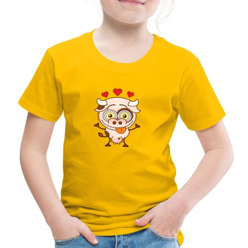 Cute cow falling madly in love - Kids' Premium T-Shirt