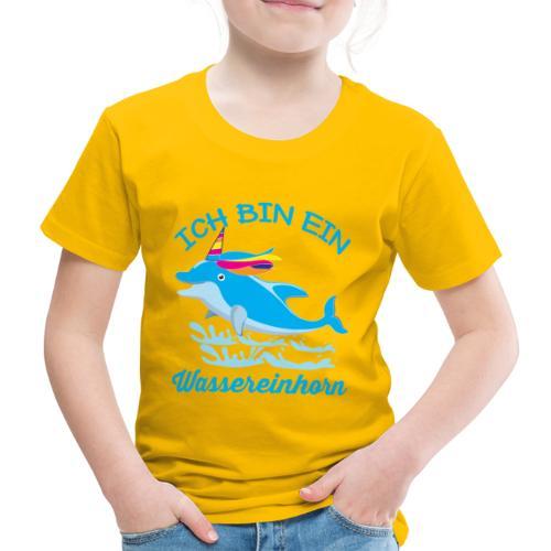 Wassereinhorn Delphin schwimmt im Meer mit Horn - Kinder Premium T-Shirt