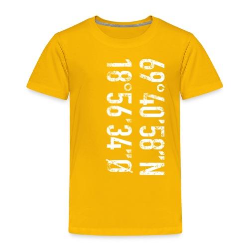 Tromsø koordinater (fra Det norske plagg) - Premium T-skjorte for barn
