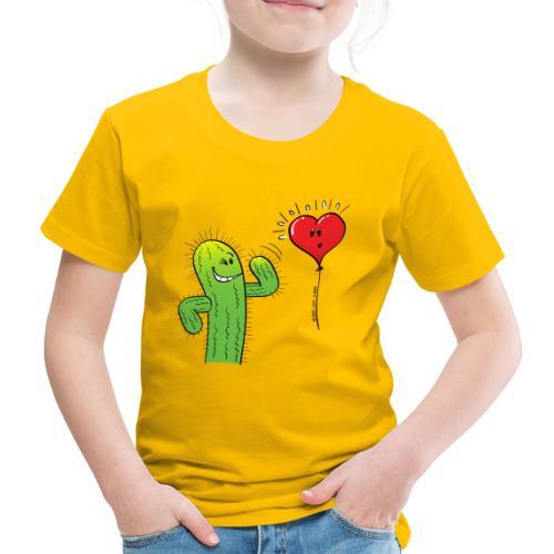 Cactus Flirting with a Heart Balloon - Kids' Premium T-Shirt