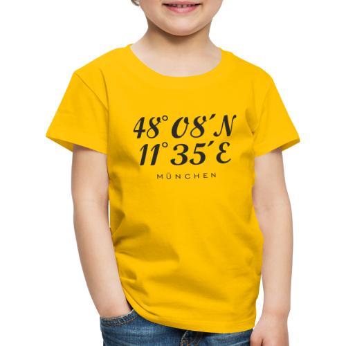 Münchener Koordinaten (Schwarz) München - Kinder Premium T-Shirt
