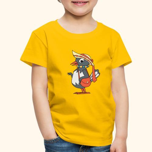 Frau Elster mit Tasche und Hut - Kinder Premium T-Shirt