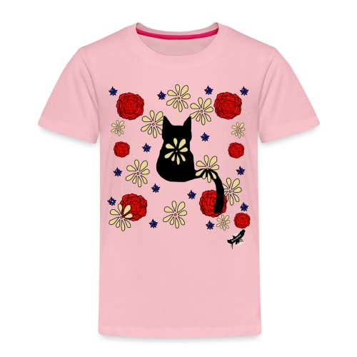 Cat with Flowers by BlackenedMoonArts, w. logo - Børne premium T-shirt