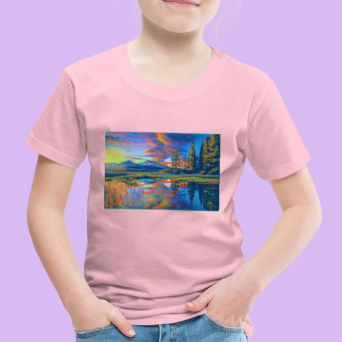 Paesaggio al tramonto con laghetto stilizzato - Maglietta Premium per bambini