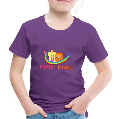 Mimi ja Kuku- sateenkaarilogolla - Lasten premium t-paita