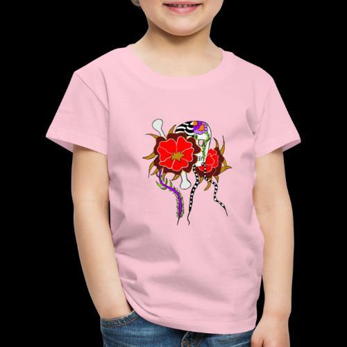 Le skull et les fleurs rouges - T-shirt Premium Enfant