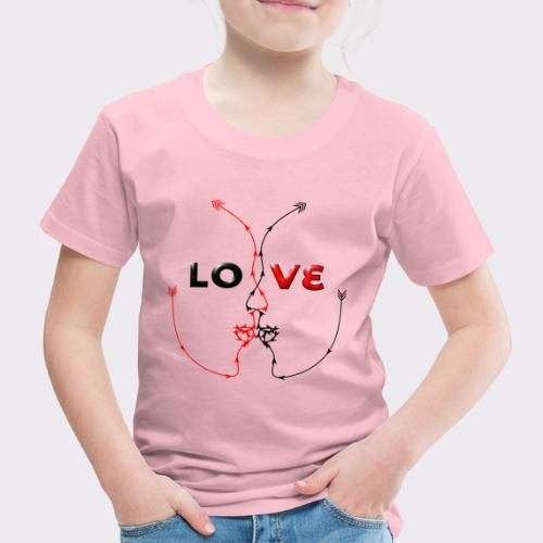 LOVE MINIMALISTIC LineART Valentinstaggeschenke - Kinder Premium T-Shirt