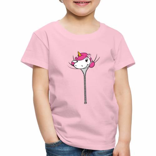 Nina-Nice Zipper Unicorn - Kinder Premium T-Shirt