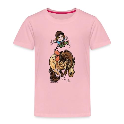 Thelwell Reiter Mit Gurt Und Buckelndes Pony - Kinder Premium T-Shirt