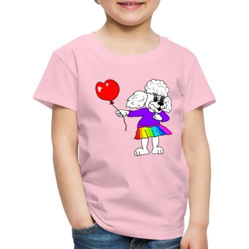 Pudelmädchen mit Herz-Luftballon - Kinder Premium T-Shirt