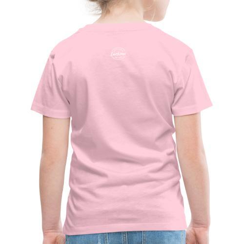Luckimi logo circle small white back - Kids - Kids' Premium T-Shirt