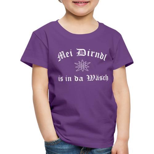 Mei Dirndl is in da Wäsch mit Edelweiß - Kinder Premium T-Shirt