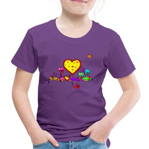 Blumengruß mit Herz - Kinder Premium T-Shirt
