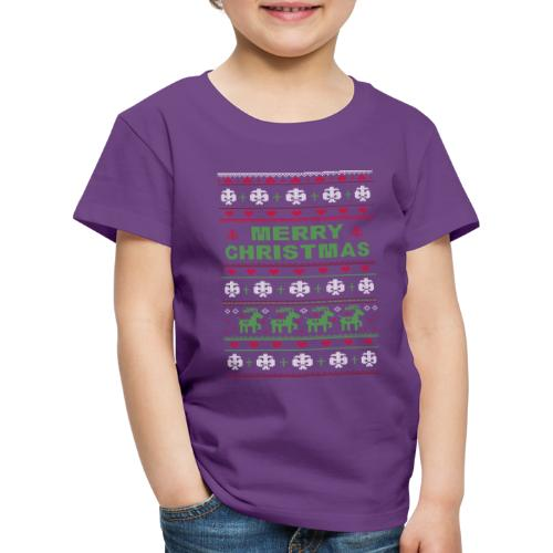 Ugly Sweater Merry Christmas Weihnachtsfarben - Kinder Premium T-Shirt