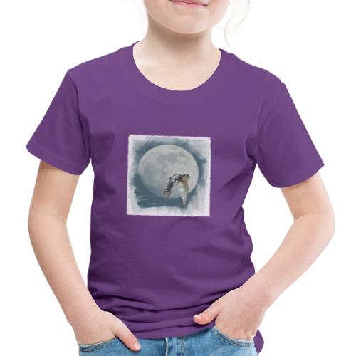 Flying owl full moon watercolor photo art - Kids' Premium T-Shirt
