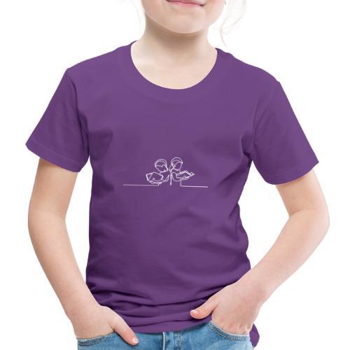 Læsende børn Hvid - Børne premium T-shirt