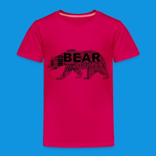 Bear Word Cloud black text - Kids' Premium T-Shirt