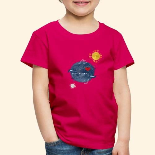 Blue Planet with Sun and Moon - Kinderen Premium T-shirt