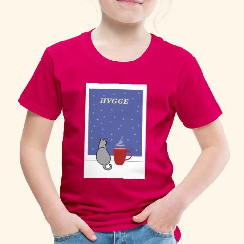 HYGGE kot z ciepłym kakao w oknie - Koszulka dziecięca Premium
