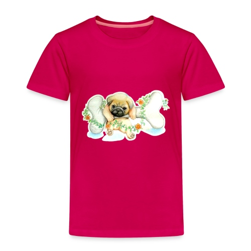 Mops knochen - Kinder Premium T-Shirt