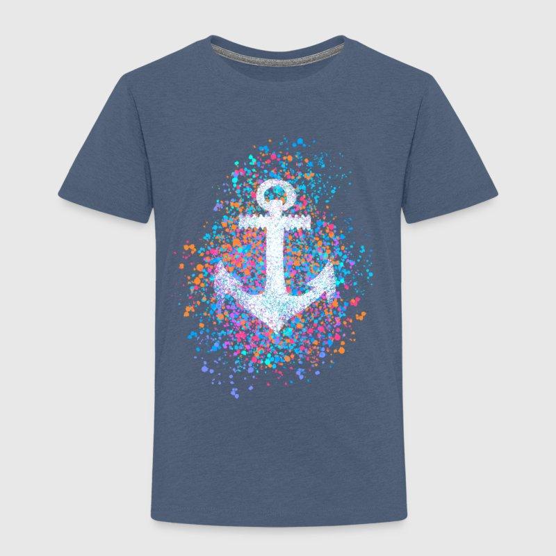 Anker, plonsen van kleur, zomer, zee, haven, zeilen - Kinderen Premium T-shirt
