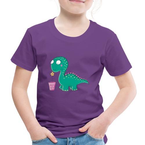 Kleiner Dinosaurier mit Blumentopf - Kinder Premium T-Shirt