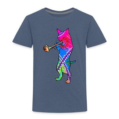 Jazz Cat plays the Trumpet - Kids' Premium T-Shirt