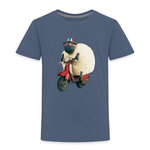 Shaun das Schaf Stoffbeutel - Shirley auf Motorrad - Kinder Premium T-Shirt