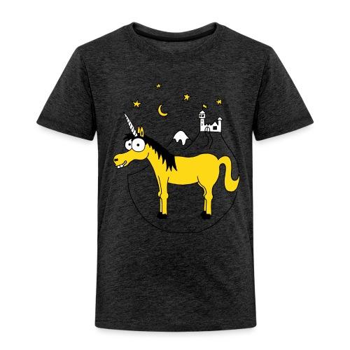 Einhorn mit Burg, Unicorn, Märchen, Pferd, Sterne - Kinder Premium T-Shirt