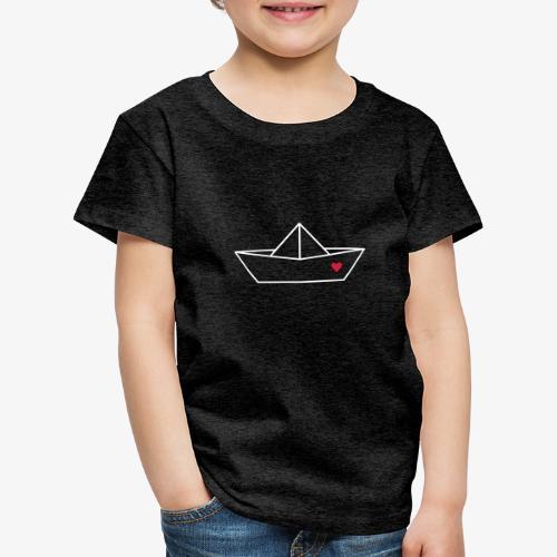 Segelboot Boot Papier Schiff Herz Liebe Geschenk - Kinder Premium T-Shirt