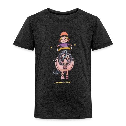 Thelwell Reiterin Balanciert Auf Süßem Pony - Kinder Premium T-Shirt