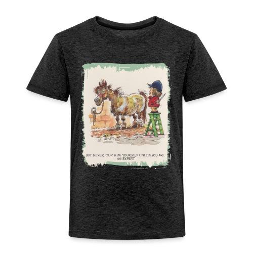 Thelwell Cartoon Pony beim Friseur - Kinder Premium T-Shirt