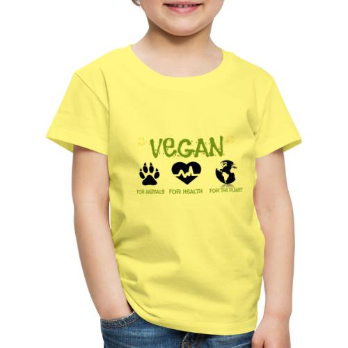 Vegan for animals, health and the environment. - Camiseta premium niño