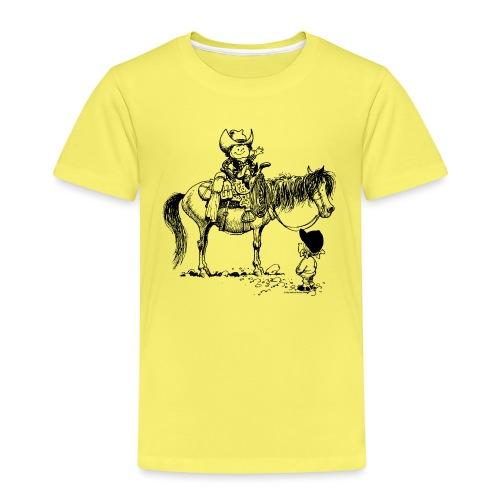 Thelwell Cartoon Cowboy mit seinem Pony - Kinder Premium T-Shirt