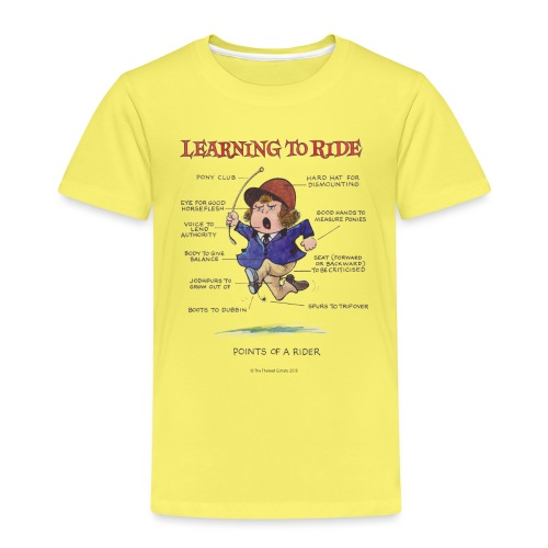 Thelwell Cartoon Learning to ride - Kinder Premium T-Shirt