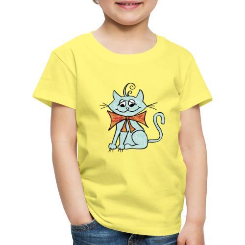 NIedliche blaue Katze - Kinder Premium T-Shirt