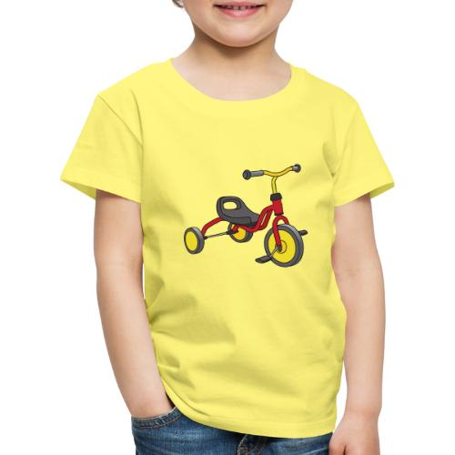 Rot-gelbes Kinderdreirad - Kinder Premium T-Shirt