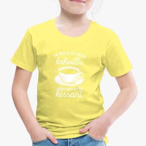 Yksin Kahvilla Kissa - Lasten premium t-paita