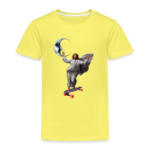 Jesus skate with a Longboard to the Moon - Kinder Premium T-Shirt
