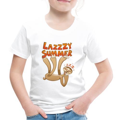 Sleepy sloth yawning and enjoying a lazy summer - Kids' Premium T-Shirt