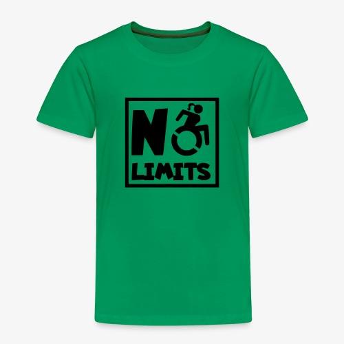 Geen grenzen voor deze dame in rolstoel - Kinderen Premium T-shirt